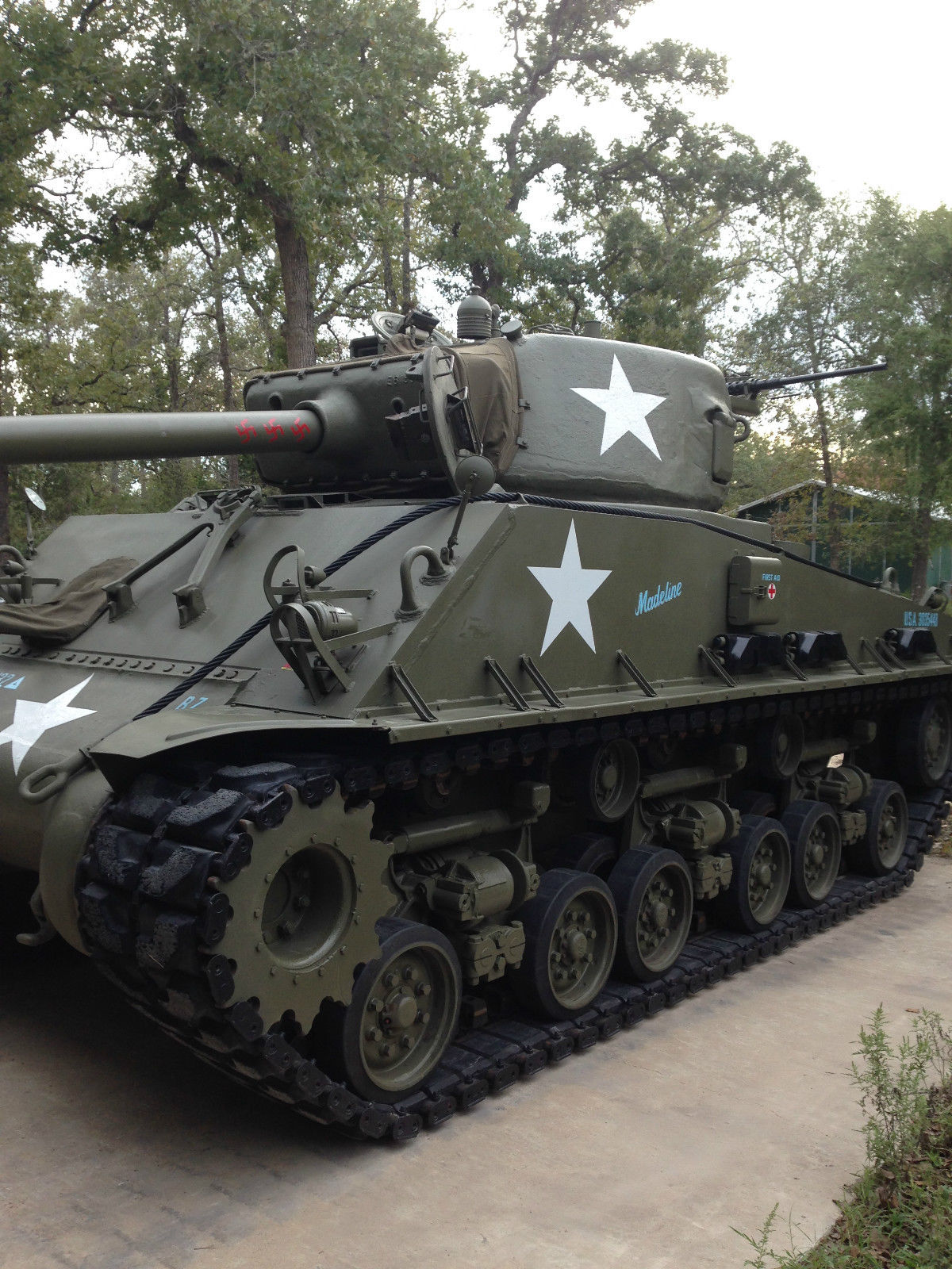"""For sale Running and Driving Restored Sherman M4A2E8 """"Easyéight"""" Tank"""